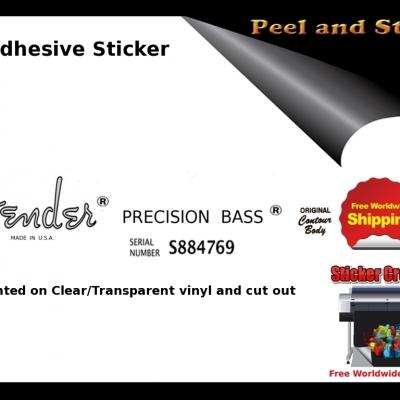 V15b Fender Precision Bass Guitar Decal