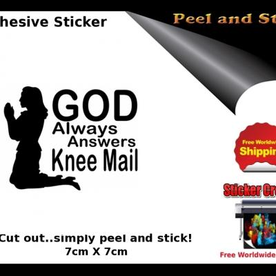 V22b God Answers Knee Mail Sticker