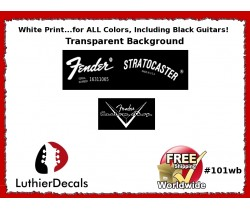 Fender Decal Stratocaster White Guitar Decal #101wb