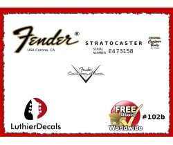 Fender Decal Stratocaster Guitar Decal #102b