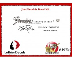 Jimi Hendrix Fender Decal Stratocaster Guitar Decal #107b