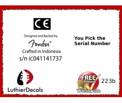Crafted In Indonesia CE Serial Number Decal Kit #223b