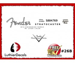 Fender Decal Stratocaster Guitar Decal #26b