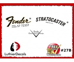 Fender Decal Stratocaster Guitar Decal #27b
