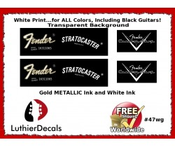 Fender Decal Stratocaster White Guitar Decal #47wg