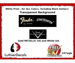 Fender Decal Stratocaster White Guitar Decal #47wgb