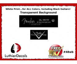 Fender Decal Stratocaster White Guitar Decal #48wb