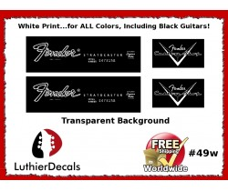 Fender Decal Stratocaster White Guitar Decal #49w