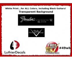 Fender Decal Stratocaster White Guitar Decal #49wb