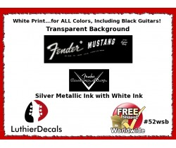 Fender Mustang Decal White Guitar Decal #52wsb