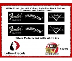 Fender Decal Stratocaster White Guitar Decal #53ws