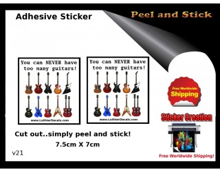 Cant have too many Guitars Adhesive Sticker v21