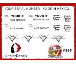 Made In Mexico Serial Number Decal Kit #166